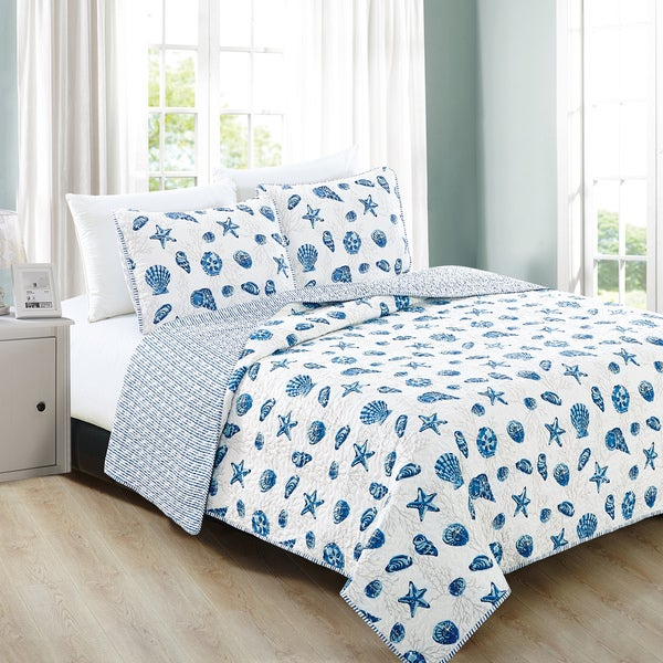 Home Fashion Designs Bali Collection 3-Piece Blue Coastal Theme Quilt Set