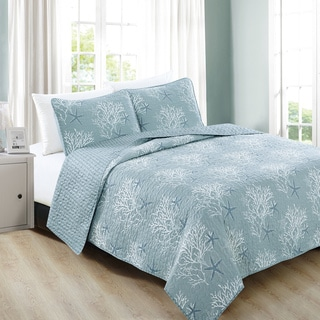 Home Fashion Designs Fenwick Collection 3-Piece Ether Blue Coastal Quilt Set