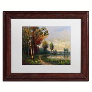 Daniel Moises 'Landscape with a Lake' Matted Framed Art