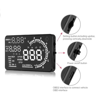 A8 5.5 inch LCD Car Fuel Overspeed Warning Head Up Display For OBD II New