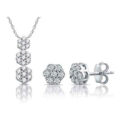 Allure Sterling Silver Round Diamond Earring and Pendant Set