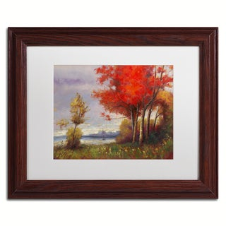 Daniel Moises 'Landscape with Red Trees' Matted Framed Art
