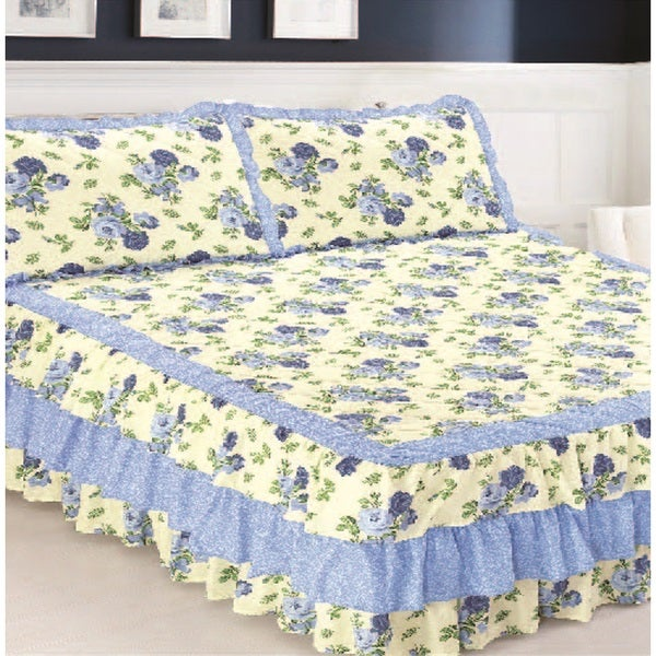 Slumber Shop Floral Blue Triple Ruffle Bedspread and Sham Set