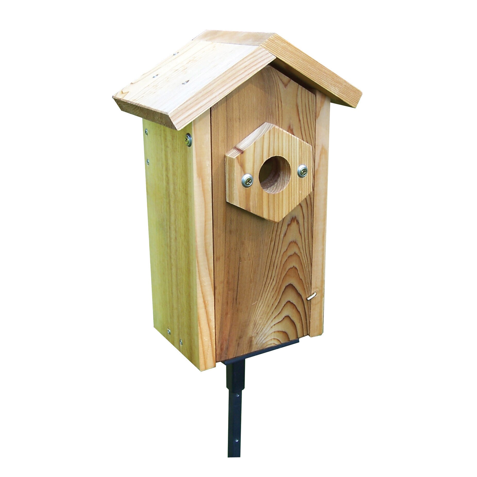 Stovall Window Viewing Nest Box Pedestal Birdhouse (Brown...