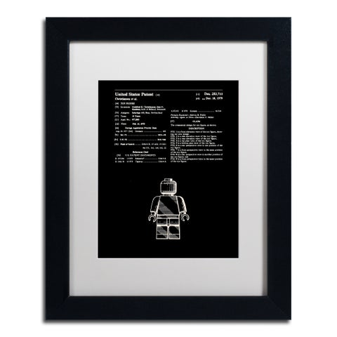 Claire Doherty 'Lego Man Patent 1979 Black' Matted Framed Art