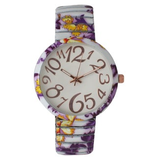 Olivia Pratt Floral Stretchband Whimsical Numbers Watch One Size