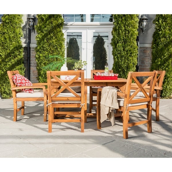 ceef0a082f Havenside Home Surfside 7-piece Acacia Outdoor Extension Dining Set - Brown