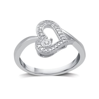 Diamond Accent Fashion Heart Ring in Sterling Silver (I-J, I2-I3) - White I-J