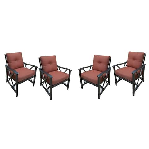 Set of Four Deep Seating Conversation Rocking Chairs with Aluminum Frames and Thick Red Cushions