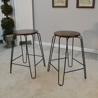 Link to Haim Wood and Metal Round Counter Stool Set Similar Items in Dining Room & Bar Furniture
