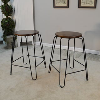 Haim Wood and Metal Round Counter Stool Set
