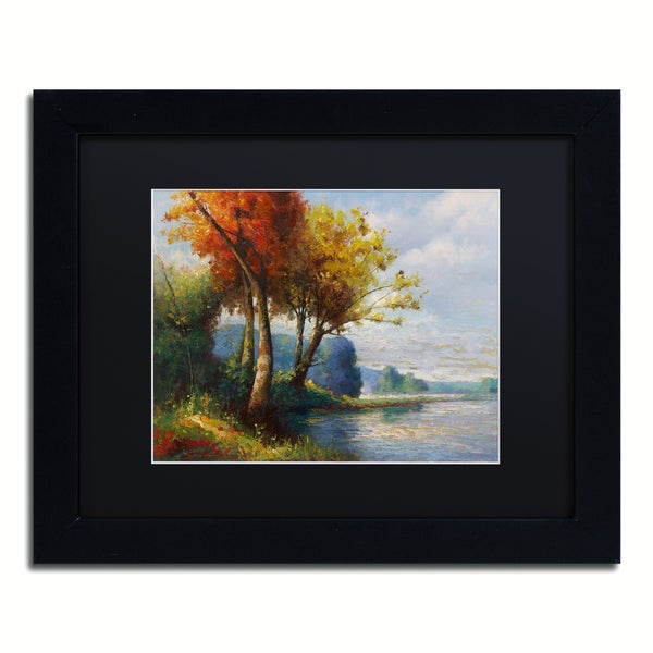 Daniel Moises 'Corot Tribute' Matted Framed Art - Black