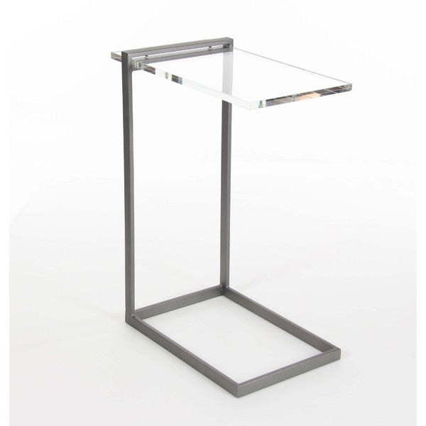 Benzara C-shaped Grey Metal Acrylic Accent Table
