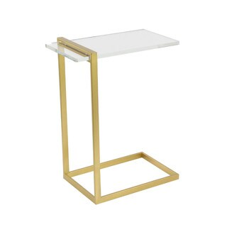 Benzara Modish Clear Acrylic Goldtone Frame Accent Table