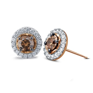 10k Rose Gold White and Champagne Diamond Fashion Stud Earrings