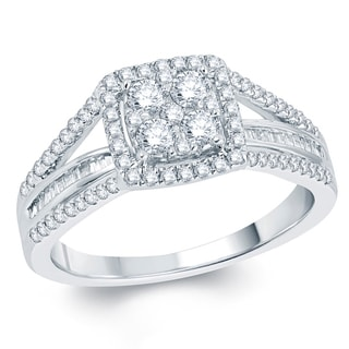 3/4ct round diamond square shape with baguette channel on side engagment ring in 10k white gold.