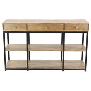 Benzara Antiqued Wood Storage Console Table