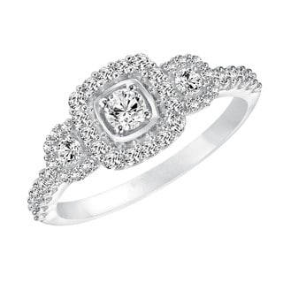 Cambridge 10k White Gold 5/ 8ct TDW Diamond 3-stone Halo Engagement Ring
