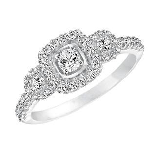 Cambridge 10k White Gold 5/ 8ct TDW Diamond 3-stone Halo Engagement Ring
