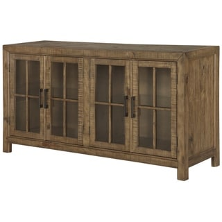 Willoughby Wood Buffet Curio Cabinet in Weathered Barley