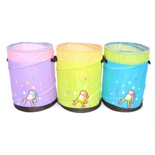 Mr. Organize Frog for Children: Green, Blue and Purple Pop-up Hamper Storage Bin / Basket / Container Set of 3