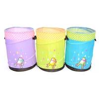 Mr. Organize Frog for Children: Green, Blue and Purple Pop-up Hamper Storage Bin / Basket / Container  Set of 3