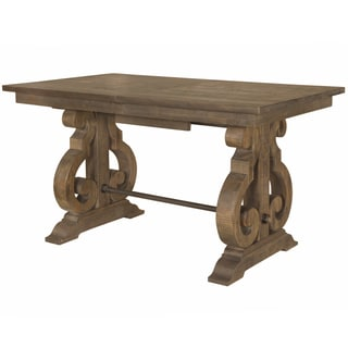 The Gray Barn Bartlett Rectangular Wood Counter Height Table in Weathered Barley - Chestnut