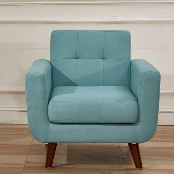 Shop us pride furniture grace rainbeau mid century tufted - Upholstered living room chairs sale ...