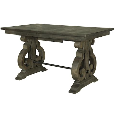 The Gray Barn Kornfeld Rectangular Wood Counter Height Table in Weathered Pine - Charcoal