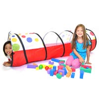 "eWonderWorld Jumbo Polka Dot Development Crawl Play Tunnel Safety Meshing & Tote Bag, 20"" x 69"""
