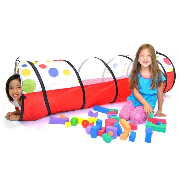 "eWonderWorld Jumbo Polka Dot Development Crawl Play Tunnel Safety Meshing & Tote Bag, 20"" x 69"""