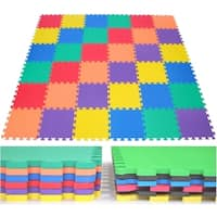 Non-Toxic Rainbow (6 Colors) Wonder Mats Interlocking Foam Mats: 36 Pieces - Assorted/Multi/Multi-Color