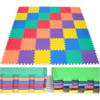 EWONDERWORLD 36 Piece Foam Play Mat Non Toxic Extra Thick Kids and Toddlers Interlocking Puzzle Floor Tiles - Multi-Color