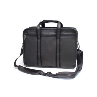 Bellino Black Leather 15-inch Laptop Briefcase