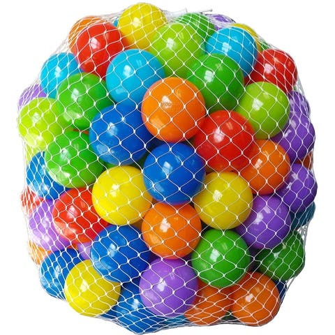"EWONDERWORLD 200 Count 2.4"" Non-Toxic BPA Free Crush Proof Plastic Play Balls for Ball Pit in 8 Vibrant Colors with Net Bag"