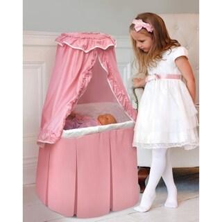 Badger Basket Pink/White Kisses Rocking Doll Bassinet