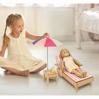 Badger Basket Summer Stripes Doll Beach Lounger with Table and Umbrella