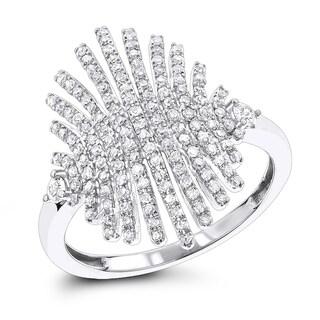 Luxurman Designer Right Hand Diamond Ring 0.6ct 14K Gold (H-I; SI1-SI2)