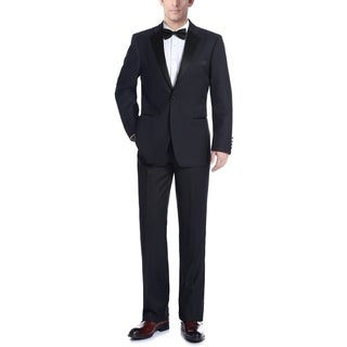 Verno Men's Dark Navy Classic Fit Two-piece Notch Collar Tuxedo With Pipping Finish