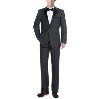 Verno Men's Dark Grey Classic Fit Two-piece Notch Collar Tuxedo With Pipping Finish (Option: 40r)
