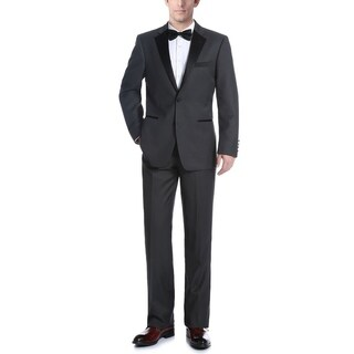 Verno Men's Dark Grey Classic Fit Two-piece Notch Collar Tuxedo With Pipping Finish