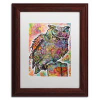 Dean Russo 'Owl Perch' Matted Framed Art - Blue