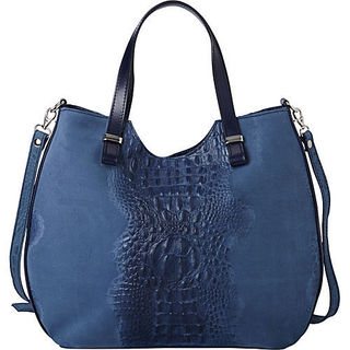 Deleite by Sharo Blue Croco Embossed Leather Shoulder Handbag