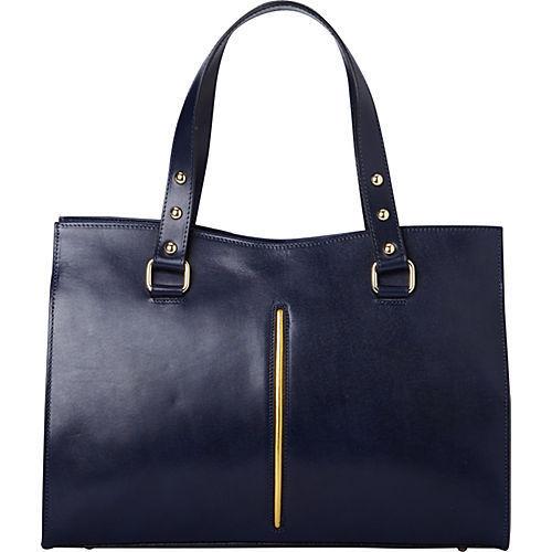 Sharo X27 Deleite Navy Blue Leather Satchel Handbag