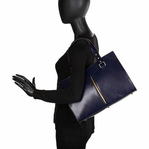 Sharo 'Deleite' Navy Blue Leather Satchel Handbag