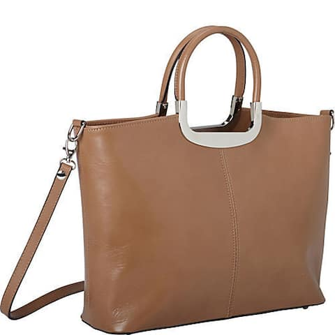 Sharo Deleite by Sharo Taupe Leather Shoulder Handbag