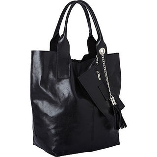 Sharo Black Leather Tote Bag
