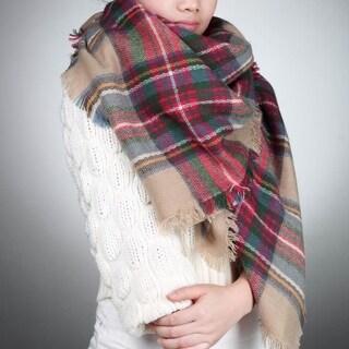 Women's Oversized Tartan Cashmere Plaid Scarf