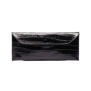 Viva Bag Croco Embossed Leather Envelope Clutch