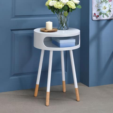 Acme Furniture Sonria Rubberwood and Metal End Table